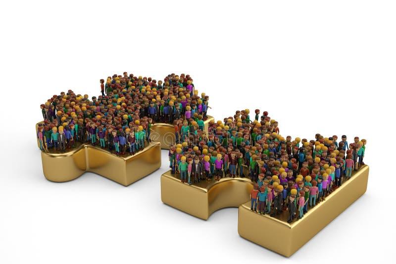 Leute auf einem großen goldenen Puzzlespiel Abbildung 3D vektor abbildung