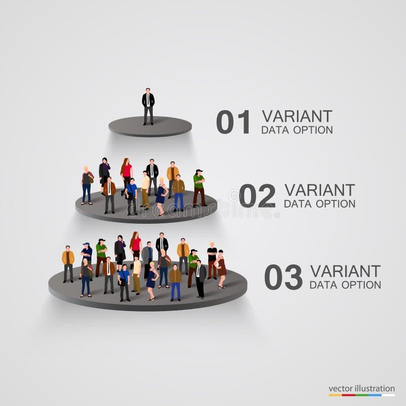 Leute auf einem Sockel in der Hierarchie lizenzfreie abbildung
