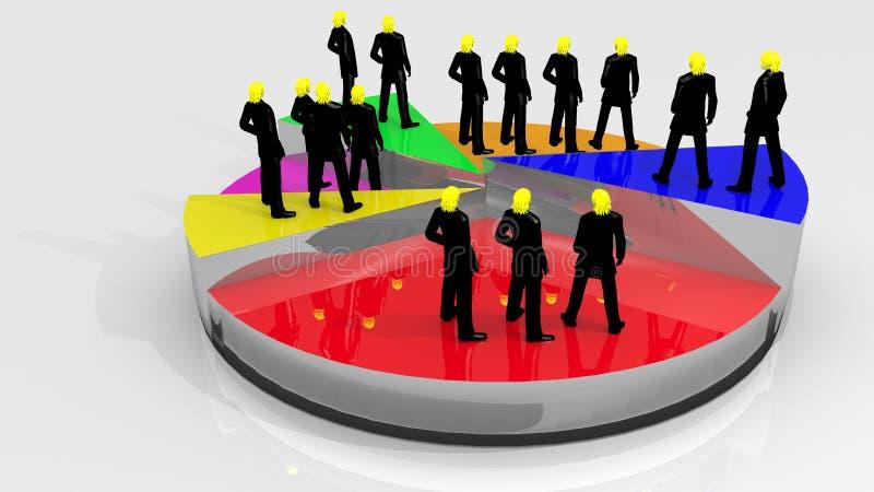 Leute auf Kreisdiagramm stock abbildung