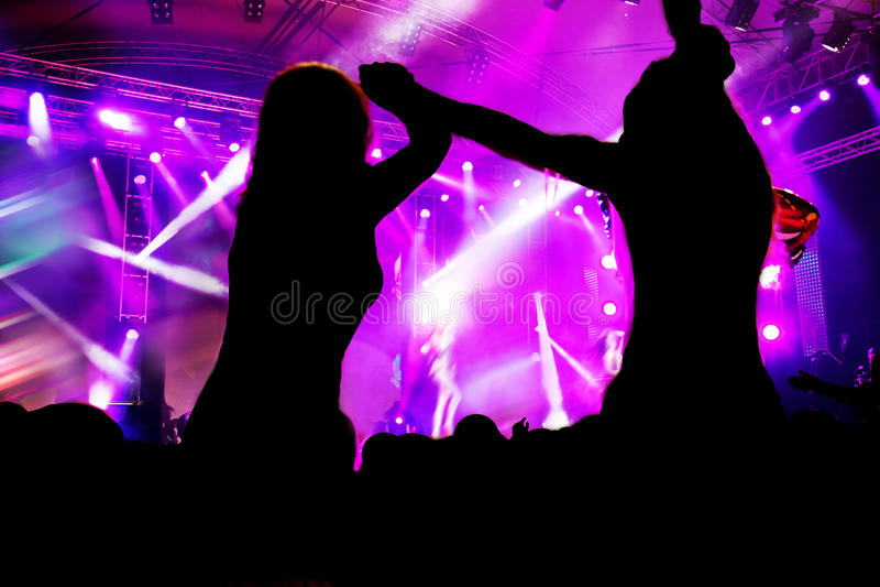 Leute auf Musikkonzert, Disco stockfotografie