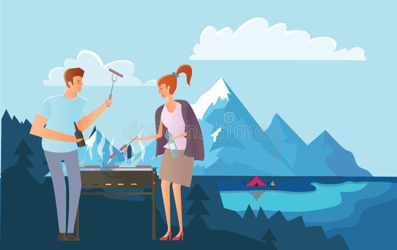Leute auf Picknick oder Bbq-Partei in den Bergen Mann und Frau, die Steaks und Würste auf Grill kochen Große Berge stock abbildung