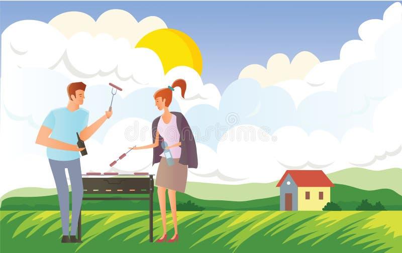 Leute auf Picknick oder Bbq-Partei in der ländlichen Landschaft Mann und Frau, die Steaks und Würste auf Grill kochen Vektor vektor abbildung