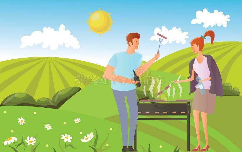 Leute auf Picknick oder Bbq-Partei in der ländlichen Landschaft Mann und Frau, die Steaks und Würste auf Grill kochen Vektor lizenzfreie abbildung