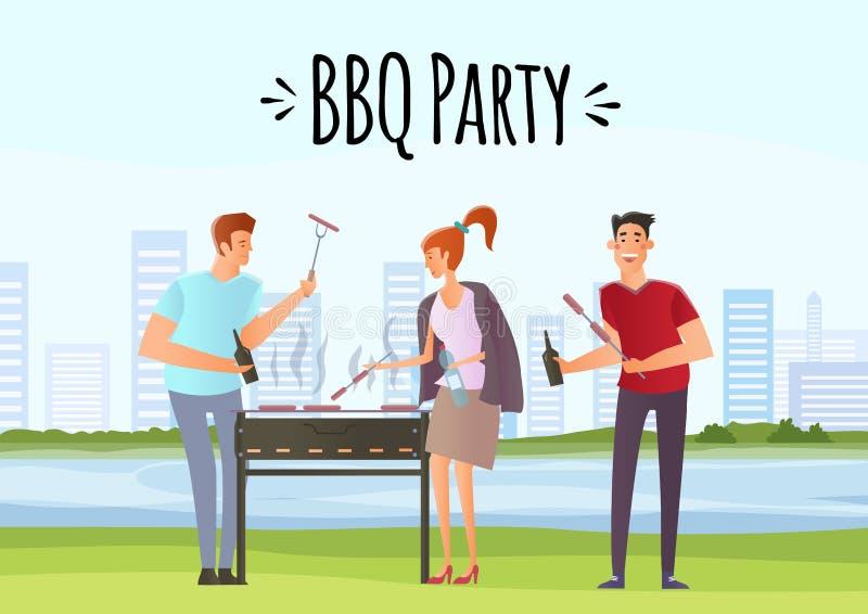 Leute auf Picknick oder Bbq-Partei Mann und Frau, die Steaks kochen stock abbildung