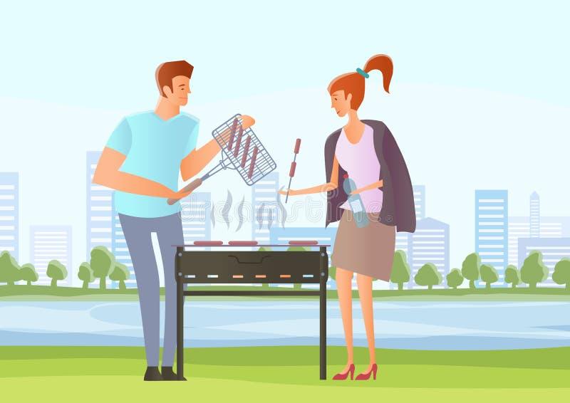 Leute auf Picknick oder Bbq-Partei Mann und Frau, die Steaks und Würste auf Grill kochen Auch im corel abgehobenen Betrag stock abbildung