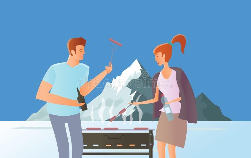 Leute auf Picknick oder Bbq-Partei Mann und Frau, die Steaks und Würste auf Grill kochen Gebirgslandschaft mit See Vektor stock abbildung