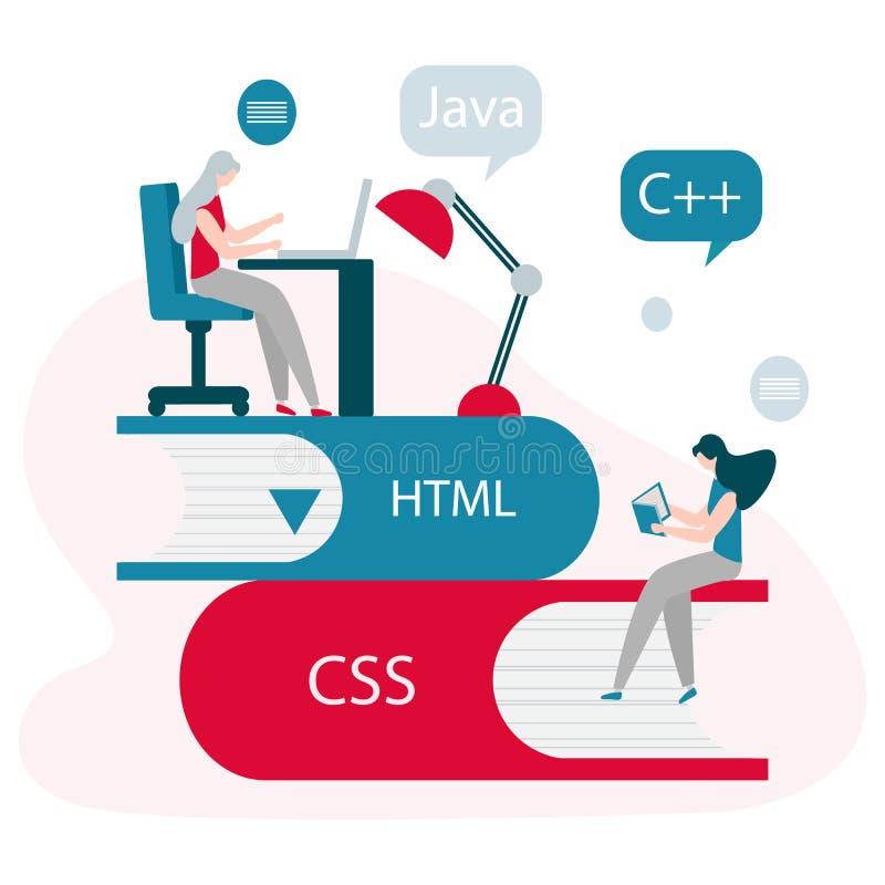Leute, Bücher Lernen von Programmiersprachen lizenzfreie abbildung