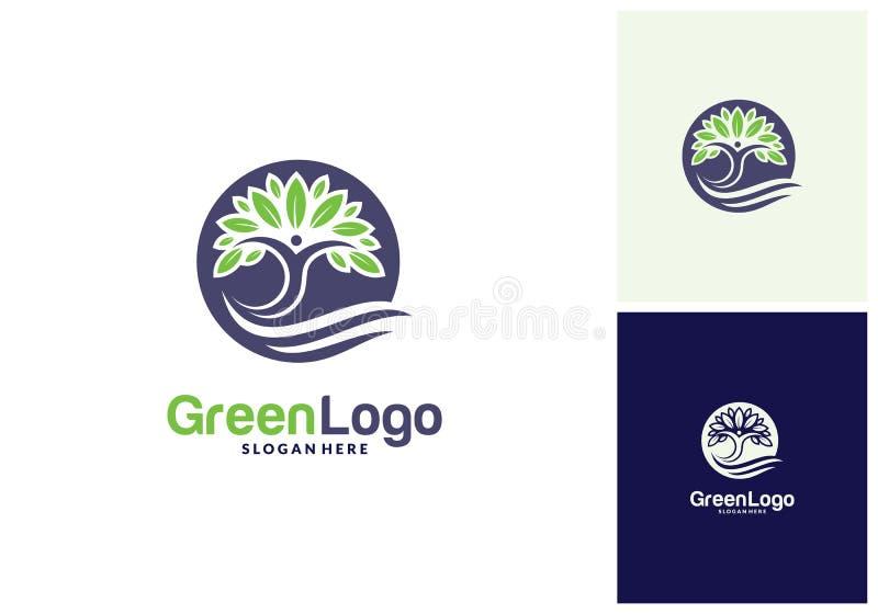 Leute-Baum-Logo und Ikonen-Schablone, grüner Logovektor lizenzfreie abbildung