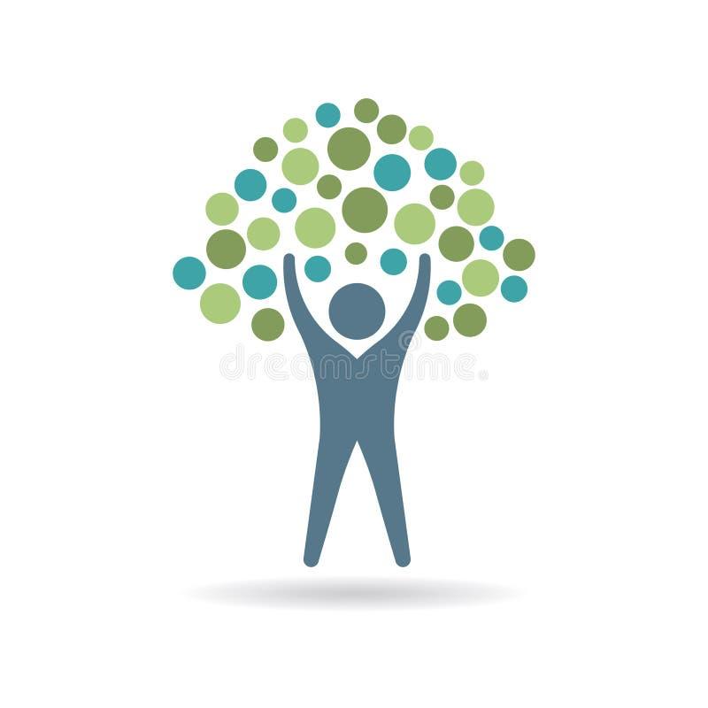 Leute-Baum mit Kreis-Illustration lizenzfreie abbildung