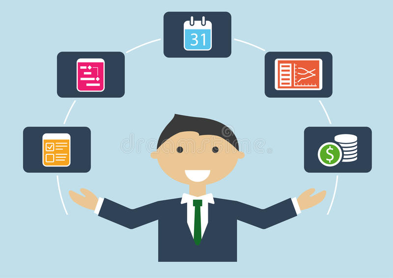 Leute bei der Arbeit: Illustration des Projektleiters, der Projektplan, Budget, Aufgaben handhabt stock abbildung