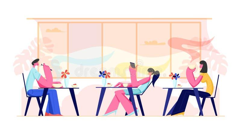 Leute-Besuchscafé und Gastfreundschafts-Konzept Mann und weibliche Figuren, die an den Tischen trinken die Getränke, Mahlzeit e lizenzfreie abbildung