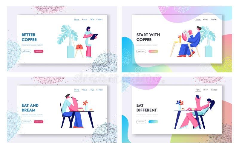 Leute-Besuchscafé-und Restaurant-Website-Landungs-Seiten-Schablonen-Satz Besucher-Charaktere, die an den Tischen machen Auftrag  vektor abbildung