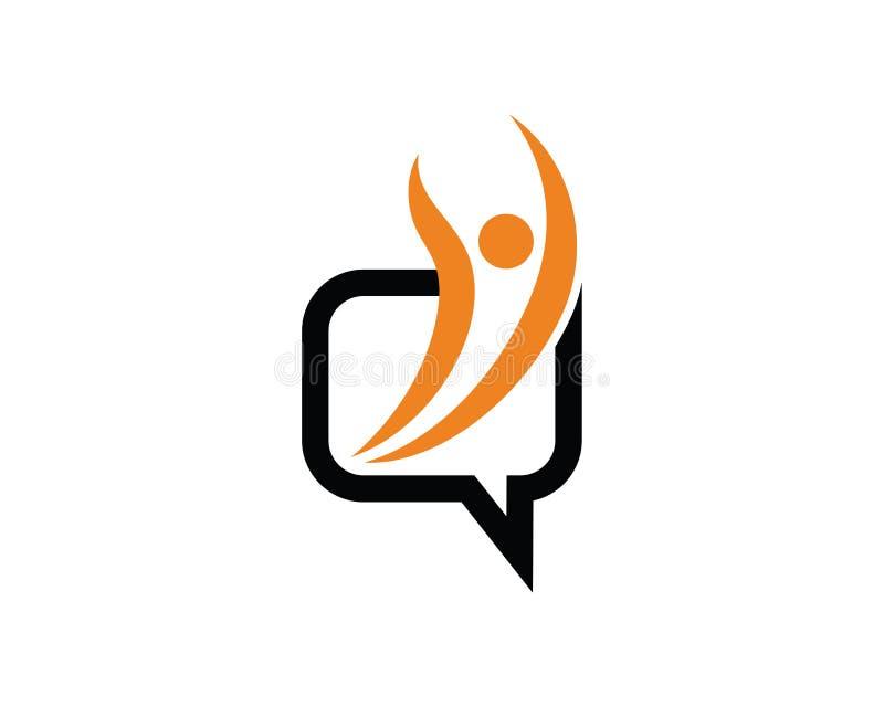 Leute-Chat Logo Template Design Vector, Emblem, Konzept des Entwurfes, stock abbildung