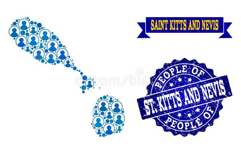 Leute-Collage der Mosaik-Karte des Heiligen Kitts und des Nevis- und Schmutz-Stempels lizenzfreie abbildung