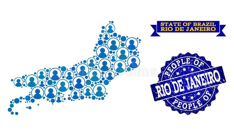 Leute-Collage der Mosaik-Karte Rio De Janeiro State- und Schmutz-Stempels lizenzfreie abbildung