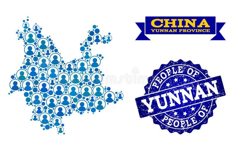 Leute-Collage der Mosaik-Karte von Yunnan-Provinz und von Bedrängnis-Dichtung lizenzfreie abbildung
