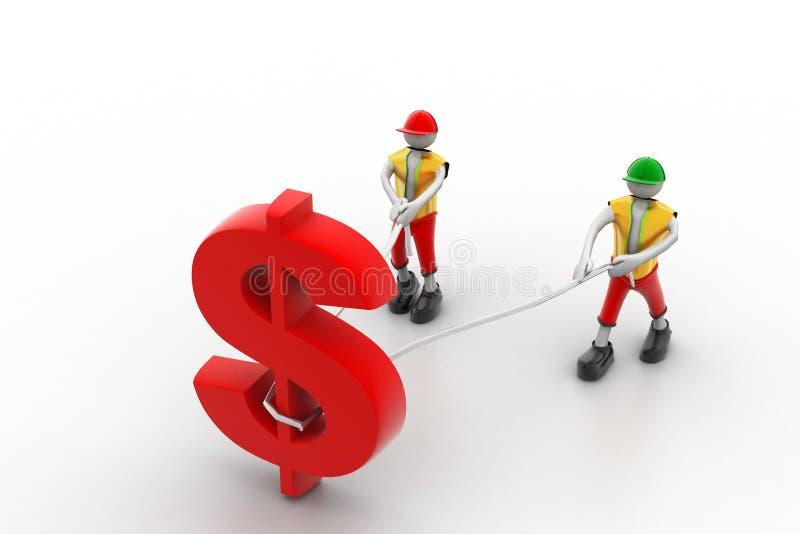 Leute 3d, die Dollarsymbol mit einem Seil ziehen lizenzfreie abbildung
