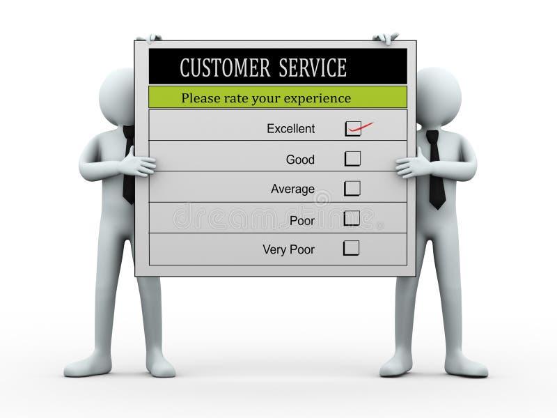 Leute 3d, die Kundendienst-Auswertungsbogen halten vektor abbildung