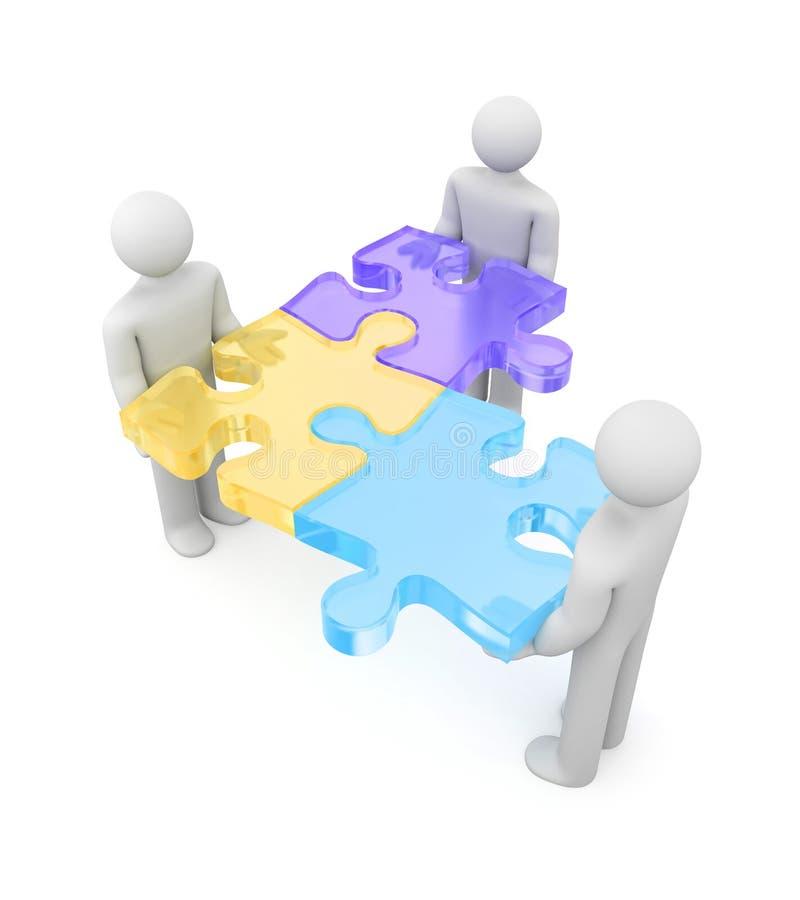 Leute 3d mit Puzzlespielen stock abbildung