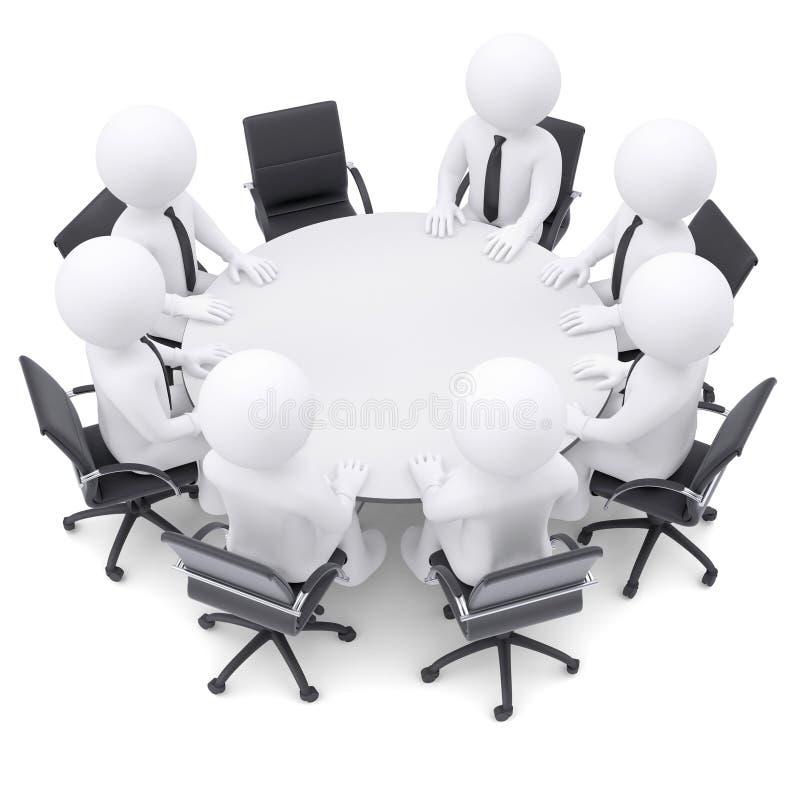 Leute 3d am Rundtisch. Ein Stuhl ist leer lizenzfreie abbildung