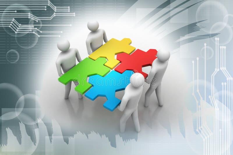 Leute 3d - team mit den Puzzlespielen in den Händen stock abbildung