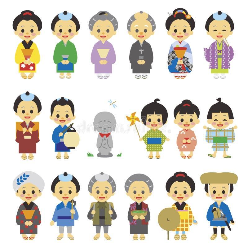 Leute der Edo-Zeit Japan 01 lizenzfreie abbildung