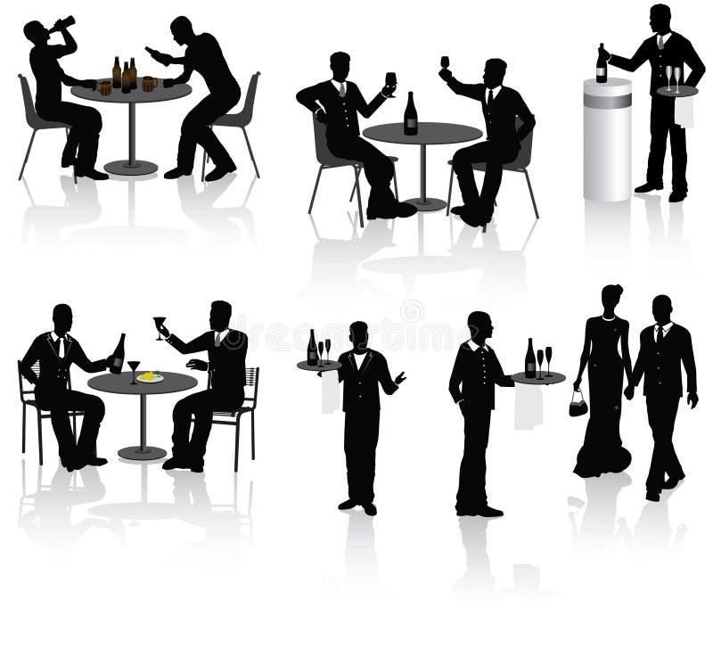 Leute in der Gaststätte lizenzfreie abbildung