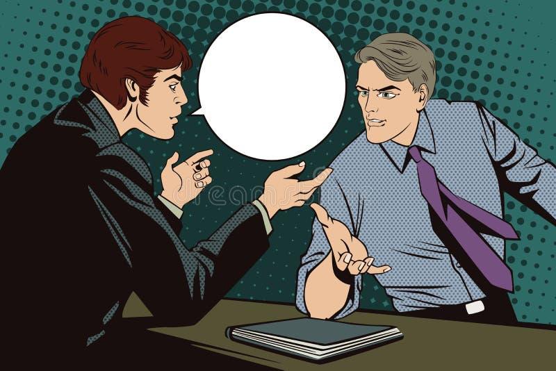 Leute in der Retrostilpop-art und in der Weinlesewerbung Argumentierung mit zwei Männern lizenzfreie abbildung