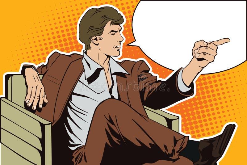 Leute in der Retrostilpop-art und in der Weinlesewerbung Sitzender Mann zeigt einen Finger vektor abbildung