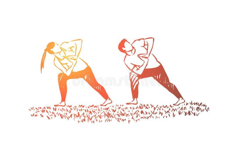 Leute in der sportiven Kleidung zusammen, Eignungstrainer und -sch?ler, Ehemann und Frau ausarbeitend, die Gymnastik tun vektor abbildung