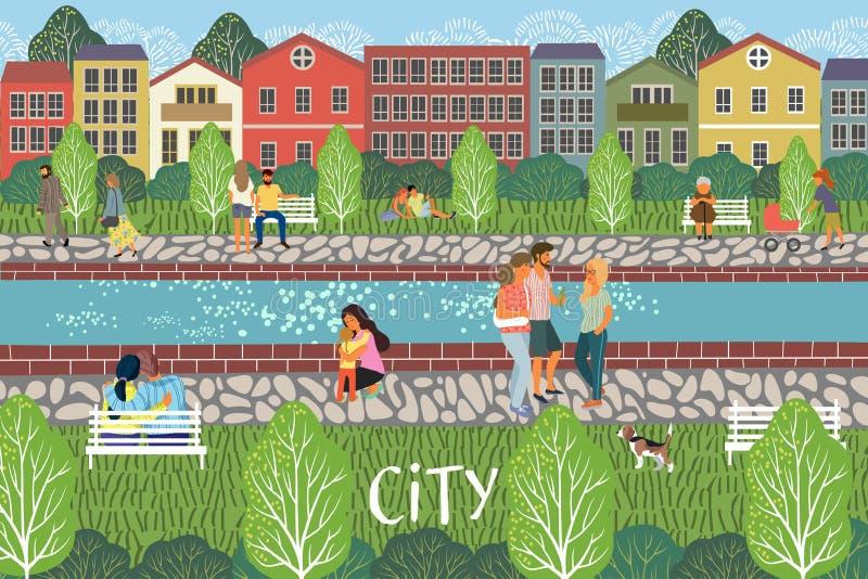 Leute in der Stadt Stadtbildvektorillustration mit Leuten, Fluss, Gebäuden, Häusern und Bäumen Städtische Szenenzeichnung stock abbildung