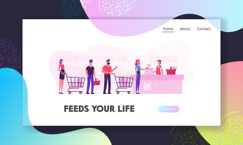 Leute in der Supermarkt-Website-Landungs-Seite Kunden stehen in der Linie an der Lebensmittelgeschäft-Drehung mit Waren in der Ei stock abbildung