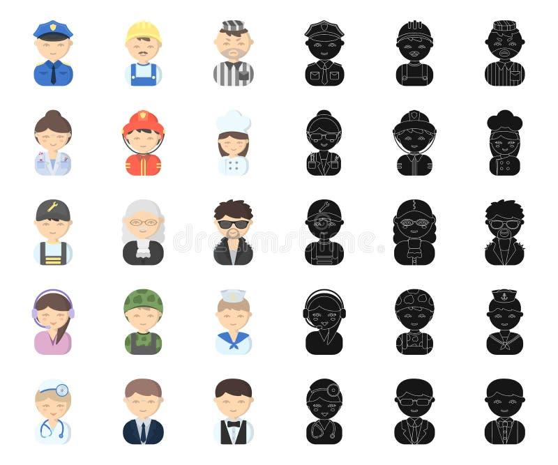 Leute der unterschiedlichen Berufkarikatur, schwarze Ikonen in gesetzter Sammlung für Entwurf r stock abbildung