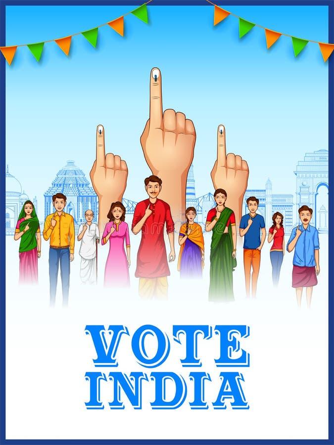 Leute der unterschiedlichen Religion Abstimmungsfinger für Parlamentswahl von Indien zeigend vektor abbildung
