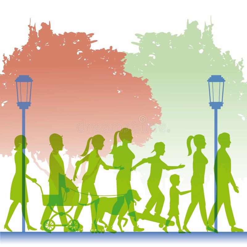 Leute des Schattenbildes grüne Farb, diein Straße gehen stock abbildung