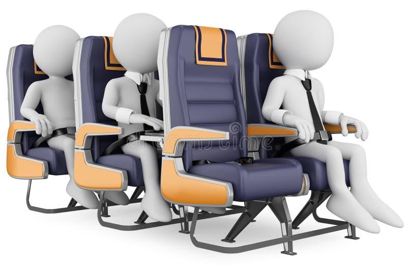 Leute des Weiß 3D. Geschäftsleute auf einem Flugzeugverkehr stock abbildung