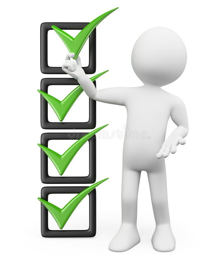 Leute des Weiß 3d Checkliste vektor abbildung