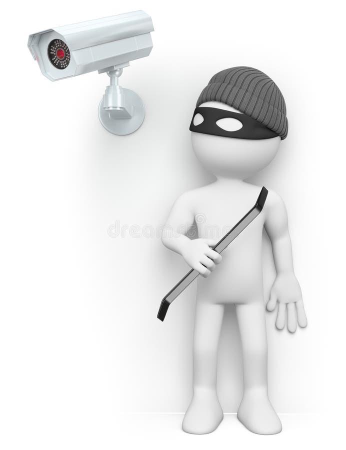 Leute des Weiß 3d Dieb, der von einer Überwachungskamera sich versteckt vektor abbildung