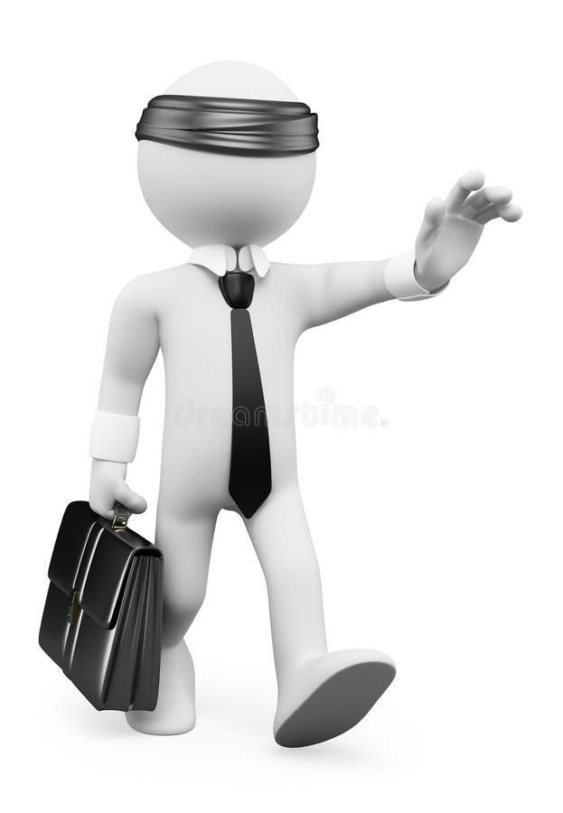 Leute des Weiß 3d Geschäftsmann, der blind geht Getrennt auf Weiß lizenzfreie abbildung
