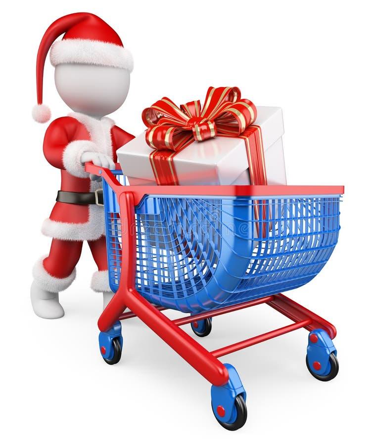 Leute des Weiß 3d Santa Claus-Einkaufenweihnachtsgeschenke stock abbildung
