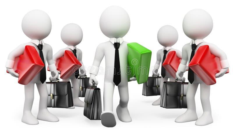 Leute des Weiß 3d unternehmer führer Geschäftsmannerfolg stock abbildung
