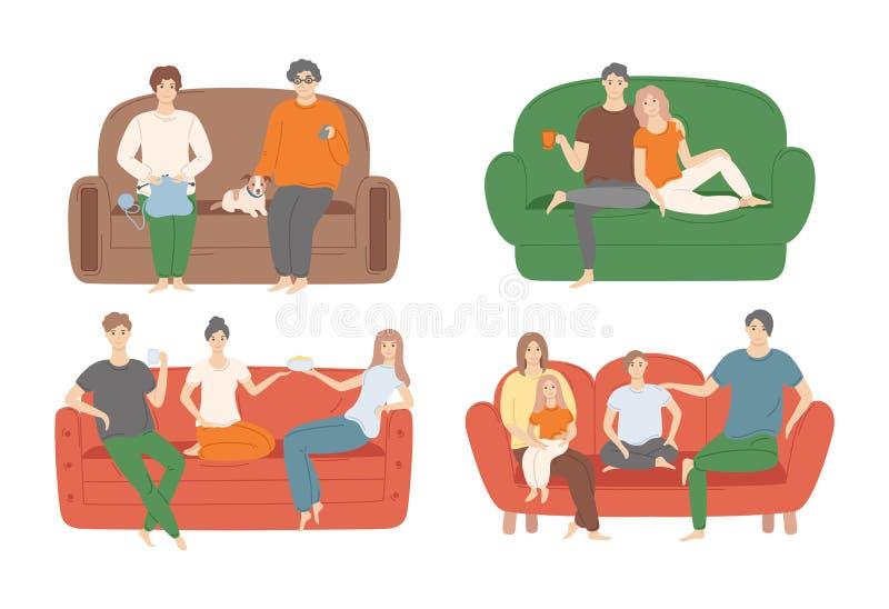 Leute, die auf Couch-Vektor-Illustrations-Satz sitzen vektor abbildung