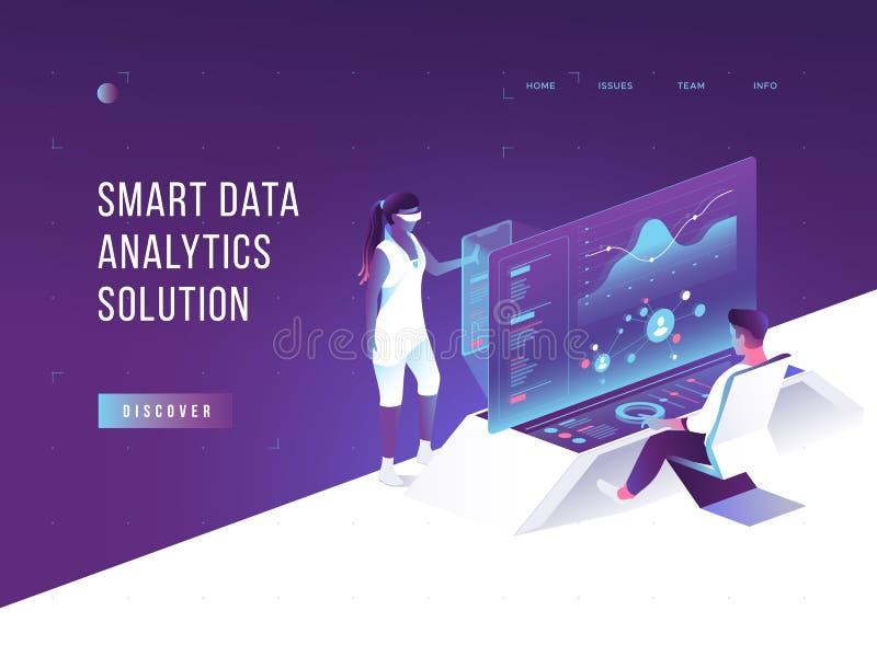Leute, die auf Diagramme einwirken und Statistiken analysieren Vurtual vergrößerte Wirklichkeit Kunde, der Software aufspürt date lizenzfreie abbildung