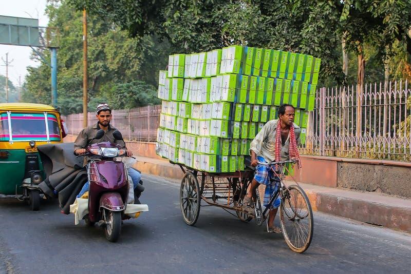 Leute, die auf eine Straße in Agra, Uttar Pradesh, Indien fahren stockbilder