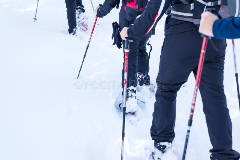 Leute, die auf Schnee auf sehr kalter Landschaft gehen lizenzfreies stockbild