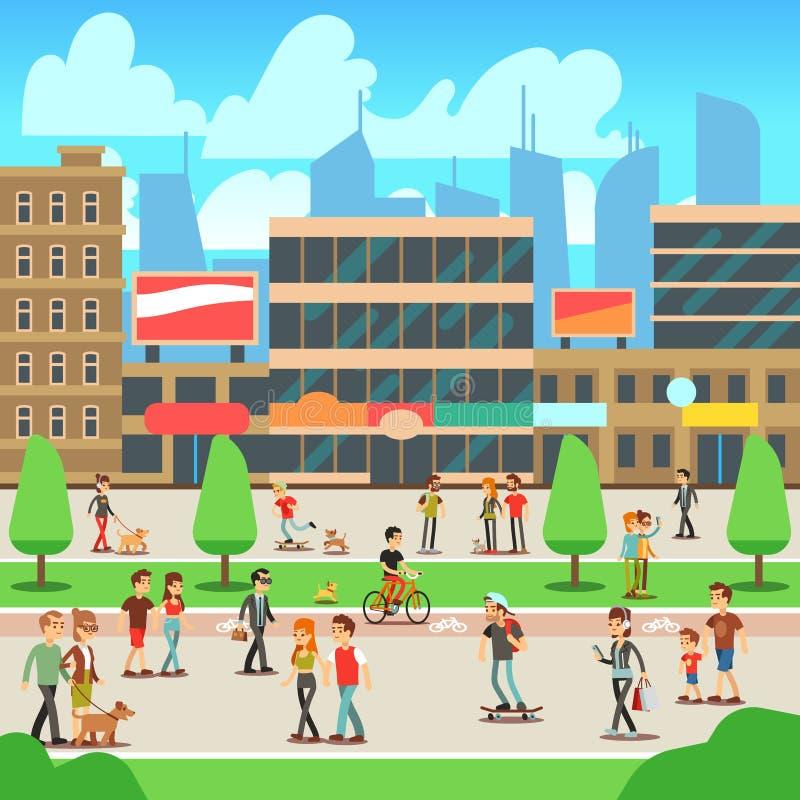 Leute, die auf Stadtstraße mit städtischer Stadtbildvektorillustration gehen vektor abbildung