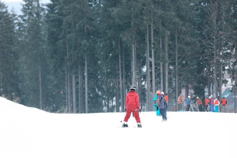 Leute, die auf Steigung am Skiort schieben lizenzfreies stockfoto