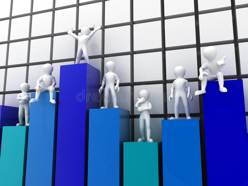 Leute, die auf verschiedenen Niveaus des Diagramms stehen vektor abbildung