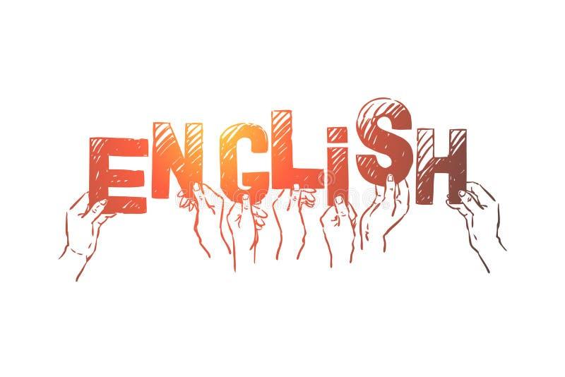 Leute, die Buchstaben in den H?nden, internationale Sprache lernend, Vereinigtes K?nigreich, Gro?britannien halten vektor abbildung