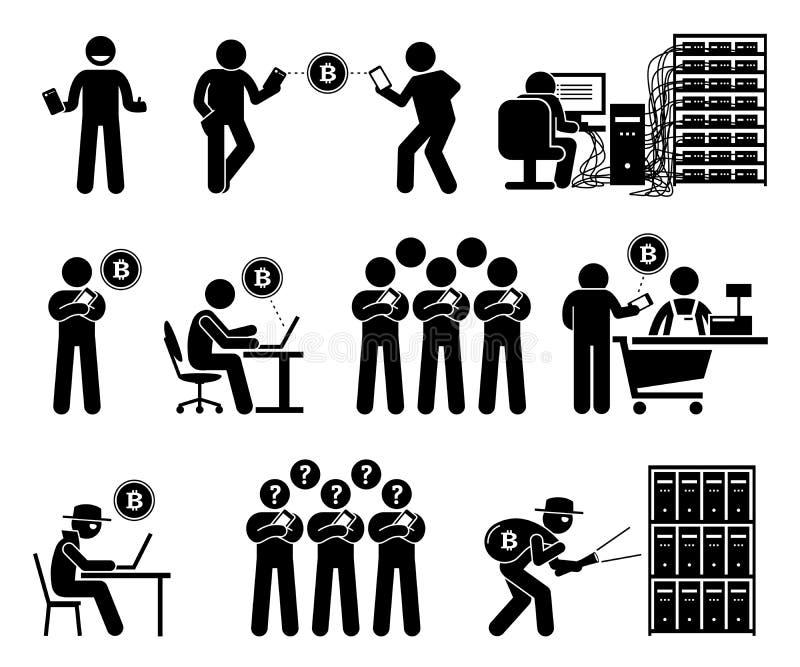 Leute, die Cryptocurrency-Illustrationen verwenden lizenzfreie abbildung